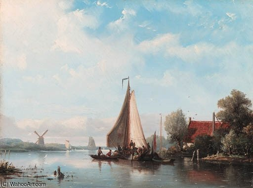 Shipping In A Dutch Estuary by Nicolaas Riegen  (buy Fine Art Framed Print Nicolaas Riegen)