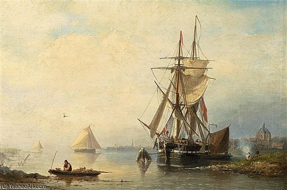 Shipping In An Estuary by Nicolaas Riegen (1827-1889, Netherlands)