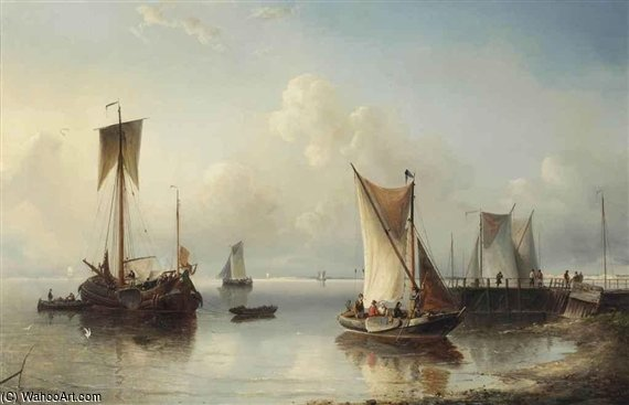 Shipping Near The Shore by Nicolaas Riegen (1827-1889, Netherlands)