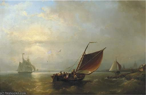 Shipping Off Shore by Nicolaas Riegen (1827-1889, Netherlands)