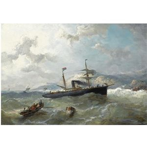 Nicolaas Riegen - Shipping Off The Coast In Choppy Waters