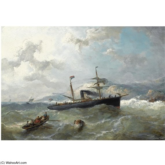Shipping Off The Coast In Choppy Waters by Nicolaas Riegen (1827-1889, Netherlands)