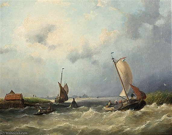 Shipping Off The Dutch Coast by Nicolaas Riegen (1827-1889, Netherlands) | WahooArt.com