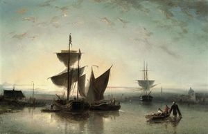 Order Oil Painting : Shipping On A Calm Near A Harbour by Nicolaas Riegen (1827-1889, Netherlands) | WahooArt.com