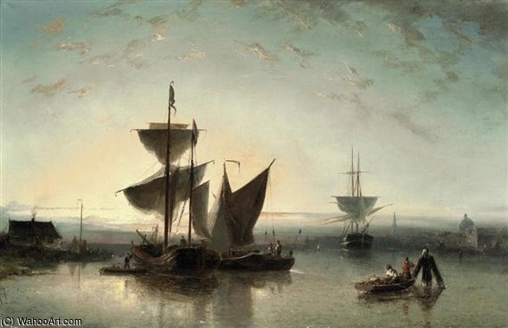 Shipping On A Calm Near A Harbour by Nicolaas Riegen  (order Fine Art hand made painting Nicolaas Riegen)