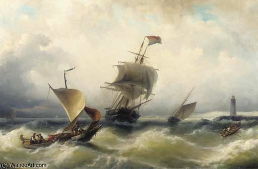 Shipping On A Choppy Sea by Nicolaas Riegen (1827-1889, Netherlands)