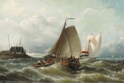 Shipping On Choppy Waters By A Coast by Nicolaas Riegen (1827-1889, Netherlands)