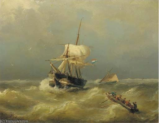 Shipping On Choppy Waters by Nicolaas Riegen  (order Fine Art Print on canvas Nicolaas Riegen)