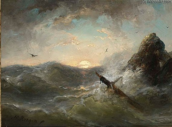 Stormy Seas by Nicolaas Riegen (1827-1889, Netherlands)