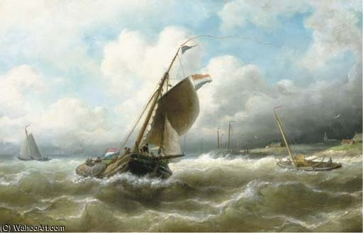 Stormy Weather by Nicolaas Riegen (1827-1889, Netherlands)