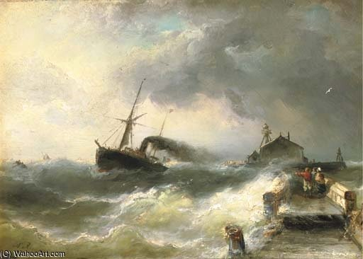 The Arrival Of The Steamship by Nicolaas Riegen (1827-1889, Netherlands)