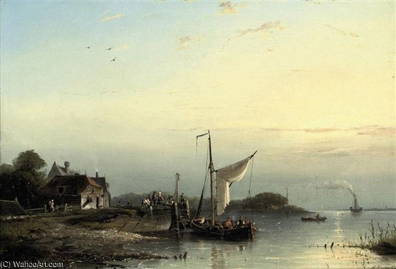The Departure by Nicolaas Riegen (1827-1889, Netherlands)