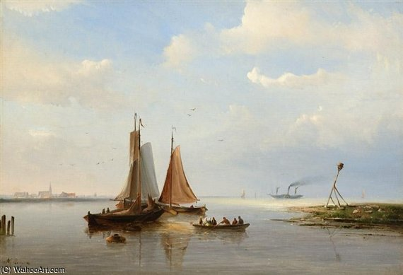 Three Boats By A Rivermouth by Nicolaas Riegen (1827-1889, Netherlands)
