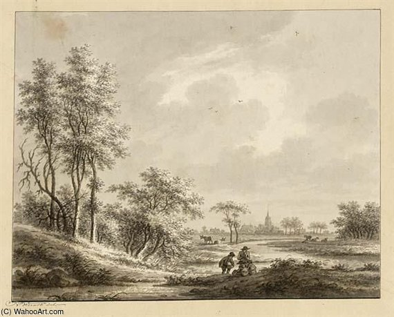 A View Of Harmelen, With Figures On A Path In The Foreground by Nicolaas Wicart (1748-1815, Netherlands) | Art Reproduction | WahooArt.com