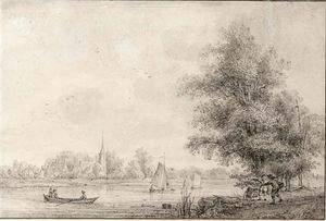 Nicolaas Wicart - View Of Lekkerkerk On The River Lek, With Figures On A Path In The Foreground