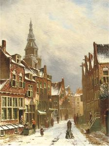 Oene Romkes De Jongh - A Snow Covered Street