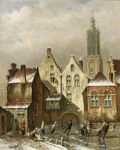 Oene Romkes De Jongh - A View Of A Dutch Town With Skaters On A Frozen Canal