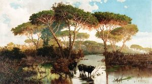 Pietro Barucci - Cattle In The Pontine Marshes
