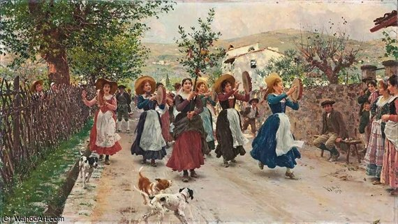 An Easter Procession by Raffaelo Sorbi (1844-1931, Italy) | Museum Quality Reproductions | WahooArt.com