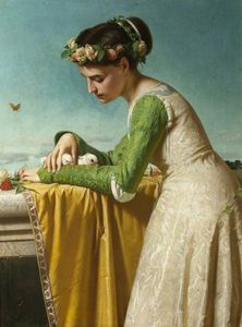 Raffaelo Sorbi - An Italian Girl With Doves