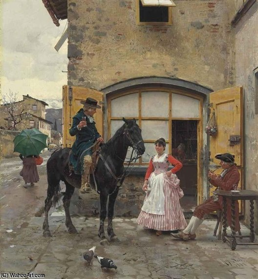 Order Museum Quality Copies | Stopping For A Drink by Raffaelo Sorbi (1844-1931, Italy) | WahooArt.com