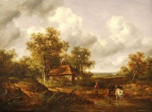 Richard Hilder - A Wooded Landscape With Cattle At A Pond