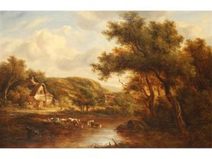 Richard Hilder - Cattle Watering Beside A Cottage In A Wooded Landscape