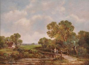 Richard Hilder - Landscape With Two Young Children Crossing A Rustic Wooden Bridge