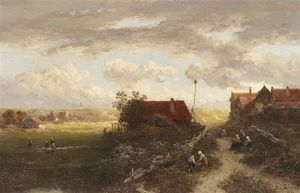Salomon Leonardus Verveer - A Summer Landscape With Villagers On A Path And Woman Doing Laundry