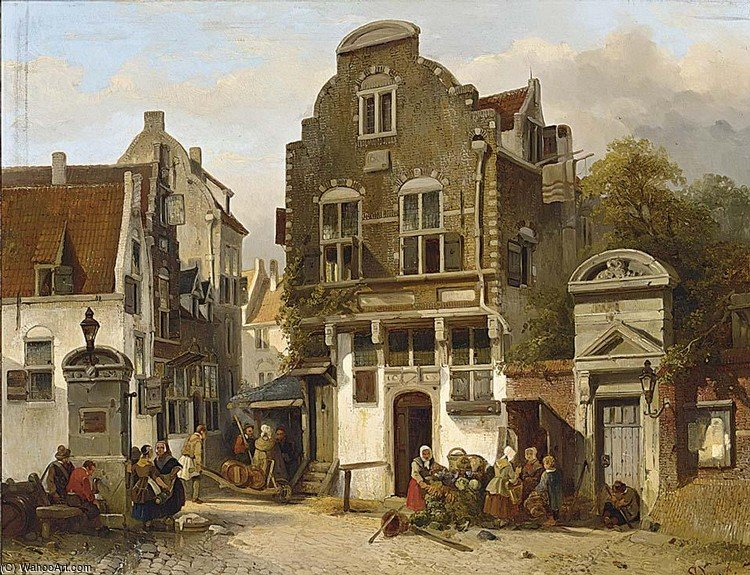 A Town Scene With Figures Near A Water Pump by Salomon Leonardus Verveer (1813-1876, Netherlands) | Painting Copy | WahooArt.com