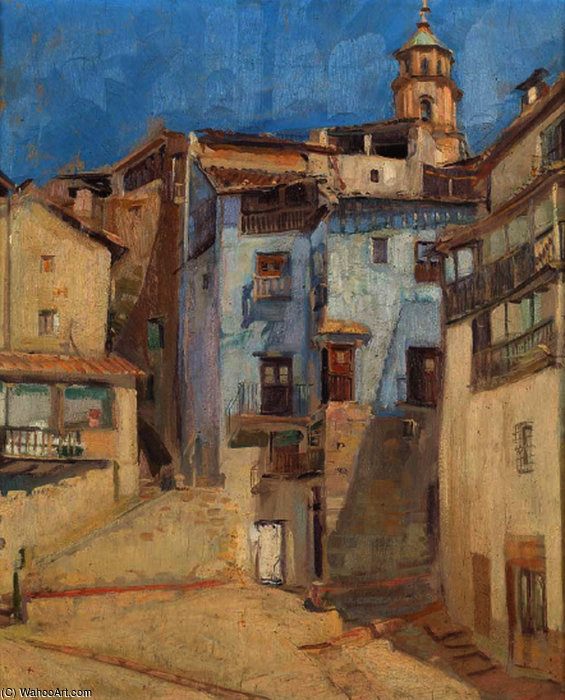 Buy Museum Art Reproductions | Calle De Pueblo by Salvador Tuset Tuset (1883-1898, Spain) | WahooArt.com