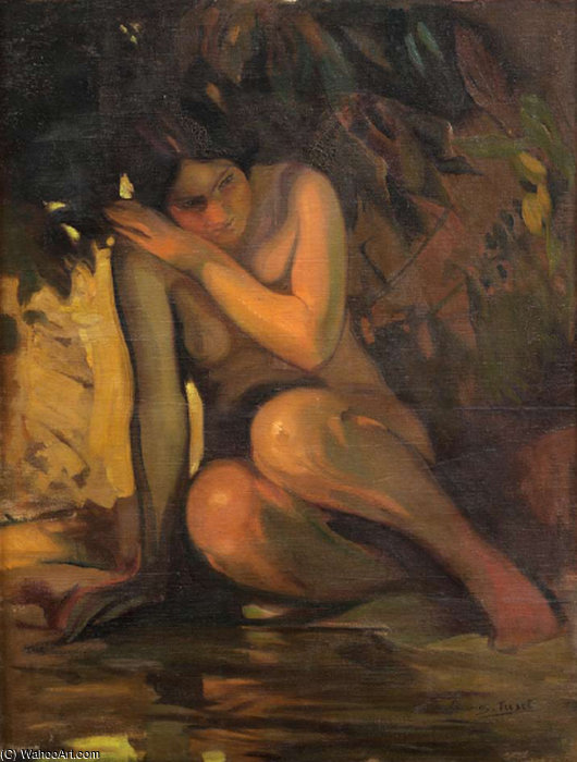 Order Paintings Reproductions | Desnudo by Salvador Tuset Tuset (1883-1898, Spain) | WahooArt.com