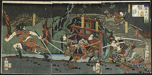 Tsukioka Yoshitoshi - Akashi Gidayu Races To Kyoto During The Battle Of Amagasaki