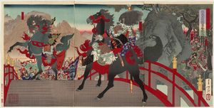Tsukioka Yoshitoshi - Zhang Fei At Zhangban Bridge Glares Back At The Enemy Force Of A Million