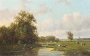 Willem Vester - Cows In A Summer Landscape
