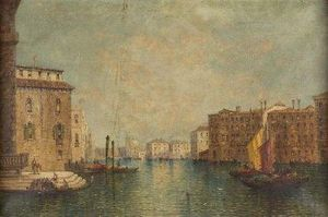 William Meadows - A Busy Venetian Canal Scene