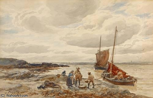 Bringing In The Day`s Catch by Alexander Ballingall (1810-1870, United Kingdom) | Museum Art Reproductions Alexander Ballingall | WahooArt.com