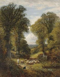 Alfred I Glendening - A Shepherd And His Flock Changing Pastures