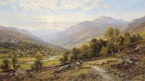 Alfred I Glendening - An Extensive Valley Landscape With A Figure On A Horse And Sheep Grazing