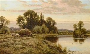Alfred I Glendening - Carting Hay By The Thames