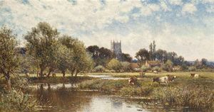 Alfred I Glendening - Cattle Watering, Kempstead-on-thames