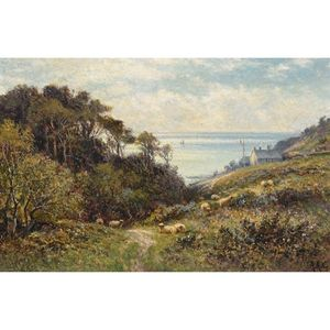 Alfred I Glendening - Coastal Ravine With Sheep Grazing