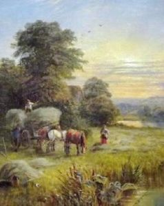 Alfred I Glendening - Hurrying The Hay In A River Meadow