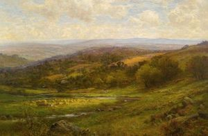 Alfred I Glendening - Landscape With Cattle And Haystacks