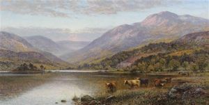 Alfred I Glendening - Loch Scene With Cattle Watering