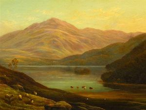 Alfred I Glendening - Scottish Mountain Landscape With Loch