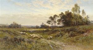 Alfred I Glendening - Sunlit Landscape With A Drover And Sheep