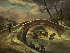 Andries Vermeulen - A Winter Landscape With A Horse Drawn Cart Going Over A Bridge, Peasants Transporting Pigs Over The River, And Children Sledging