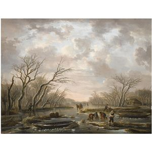 Andries Vermeulen - Winter Landscape With Skaters On A Frozen Canal