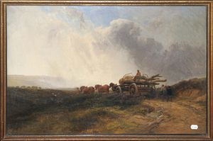 George Cole Senior - A Team Of Horses And Fiigures Hauling Timber On A Cart In An Open Landscape